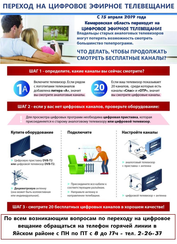 С 15 апреля 2019г. Кемеровская область переходит на цифровое эфирное телевещание